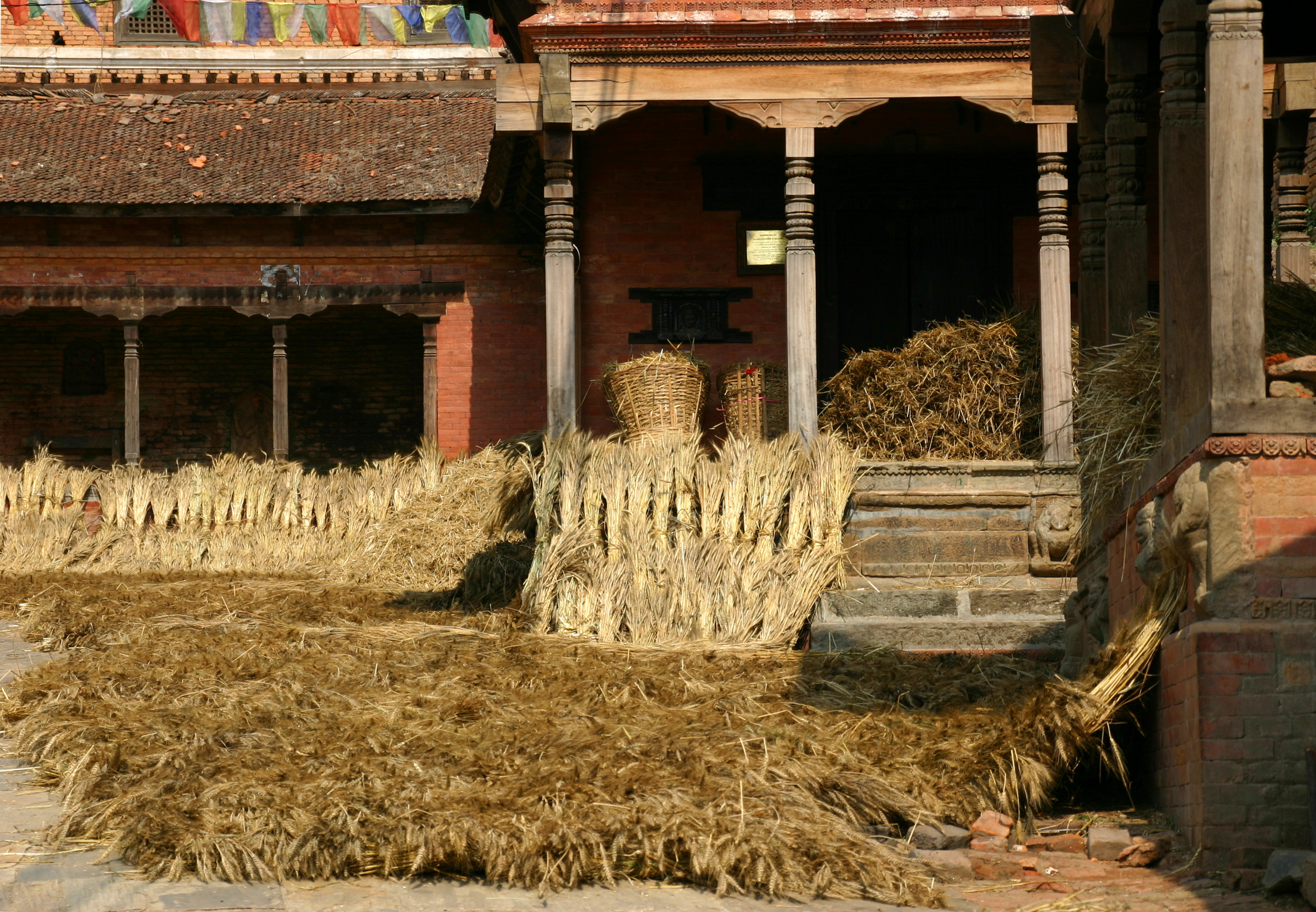 Changu Narayan temple (the oldest in Nepal) used as drying place for straw